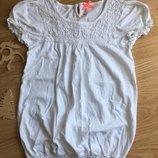 Красивая беленькая футболочка на девочку 9 лет, Next
