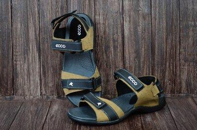 Ecco беж Мужские кожаные сандалии