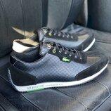 Мужские кроссовки кожаные летние черные кожаные кроссовки ,лето