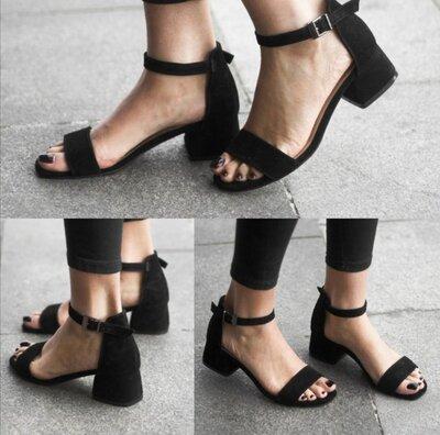 Женские чёрные натуральные замшевые босоножки на среднем каблуке из натуральной замши замша ремешок