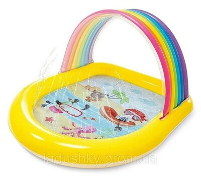 Детский надувной бассейн Intex 57156 Радуга, бассейн для малышей с навесом и распылителем