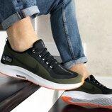 Nike Run Utility кроссовки мужские демисезонные темно зеленые с белым 9338