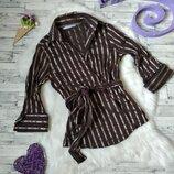 Блузка Zara Basic женская коричневая в полоску на запах