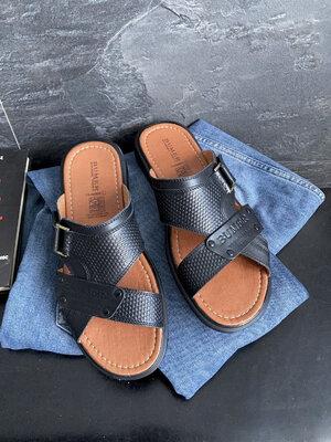 Продано: Мужские шлепанцы кожаные летние черные Bumer Premium