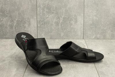 Продано: Мужские шлепанцы кожаные летние черные Yavgor