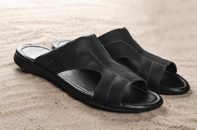 Продано: Мужские шлепанцы кожаные летние черные Yuves