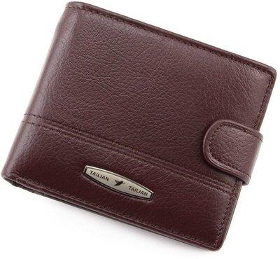 мужское коричневое портмоне мужской кожаный маленький коричневый кошелек из натуральной кожи Tailian
