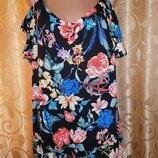Красивая легкая женская кофта, блузка с воланом в цветочный принт George