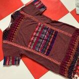 Платье футболка zara с вышивкой в бохо стиле /с помпонами