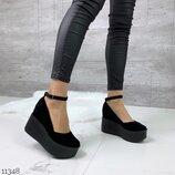 Женские натуральные кожаные замшевые туфли на ремешке на платформе танкетке