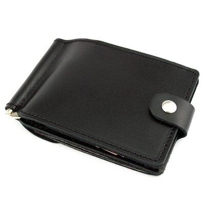 Кожаный зажим для денег Crez с карманом для мелочи черный