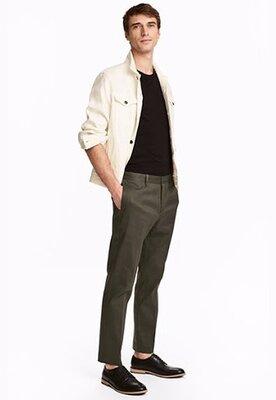Оригинальные хлопковые брюки Slim fit от бренда H&M разм. 44