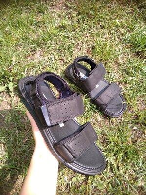Кожаные черные мужские сандалии босоножки