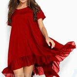 Свободное шелковое платье 2цв. XL-4XL.
