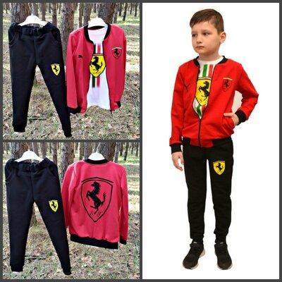 Костюм спортивный р-р 32,34,36,38,40 ferrari , футболка костюм, красный