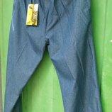 штаны мужские летние брюки джинсы. пояс на резинке. цвет синий. ткань хб под джинс.