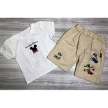 Летний костюм Микки для мальчика футболка и шорты р.80-110