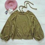 Джемпер пуловер Zara с объёмными рукавами буфами и интересной спинкой