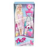Кукла Ася с набором для уборки, кукла барби с пылесосом