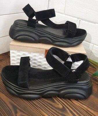 Женские чёрные натуральные замшевые спортивные босоножки сандалии из замши замша на чёрной подошве