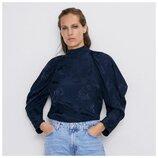 Zara синяя жаккардовая блуза с пышными рукавами S/M рисунок розы