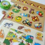 Деревянные рамки пазлы для малышей и рыбалка лот