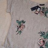 Льняная блуза в полоску с вышитыми цветами вышивкой размер 10 marks&spenser