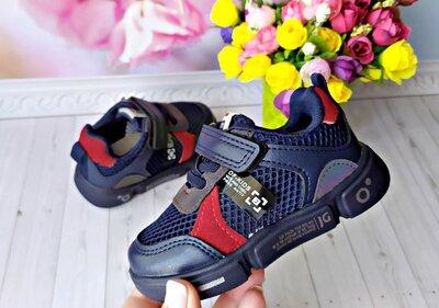 Кроссовки в сеточку р-р 21-26 фирма jong golf синие с красными вставками