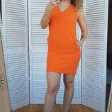 Платье баллон морковно-оранжевого цвета