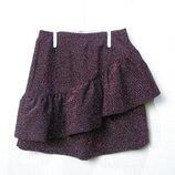 Блестящая юбка ZARA с оборкой на 8-9 лет