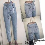 Голубые джинсы Мом, Момы, джинсы с высокой посадкой, Турция