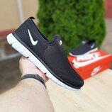 Кроссовки мужские летние Nike, черные с белым