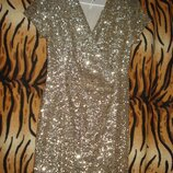 Супер платье золотистое ribbon р.10