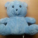Мягкая игрушка голубой плюшевый мишка. Высота 23 см.