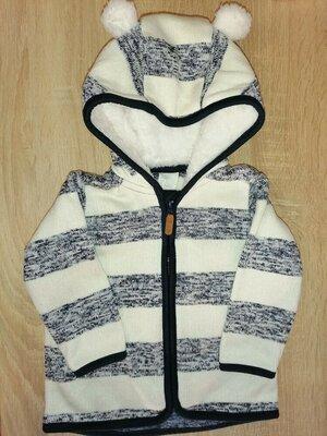 Кофта тёплая с ушками, куртка Н&м 74 6-9м