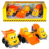 Детский игровой набор транспорт Мини Технок , 3 машинки стройтехника, машинки в песок
