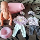 Кукла Пупс Baby Love аналог Baby Born 2 комплекта одежды ванночка