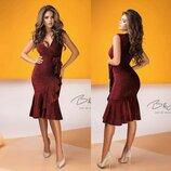 Платье из Люрекса на запах Марсалово- Красное