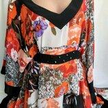 Шифоновая блуза квадрат, с поясом /можно как накидка на пляж р. 16/2XL, от Per Una