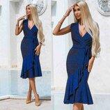 Платье из Люрекса на запах Синее