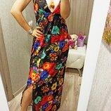 Платье длинное в пол Flowers лето S-L