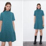 Платье Zara, L с воротником, гольф, короткими рукавами, расклешенное по низу, 1131/903/500