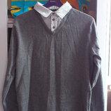 Свитер мужской серый с имитацией рубашки-обманки George Джорж Свитшот Пуловер Лонгслив Джемпер