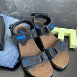 Мужские сандали нубуковые летние синие