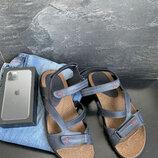 Мужские сандали кожаные летние синие