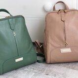 Крутейший кожаный рюкзак пудра мята Италия