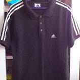 Polo мужское черное хлопковое с лампасами Футболка чоловіча чорна Поло Adidas Адидас