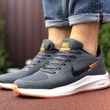 Nike Flyknit Lunar 3 кроссовки мужские демисезонные серые с белым и оранжевым 9385