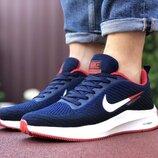 Nike Flyknit Lunar 3 кроссовки мужские демисезонные темно синие с белым и красным 9386