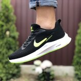 Nike Flyknit Lunar 3 кроссовки мужские демисезонные черные с белым и салатовым 9389